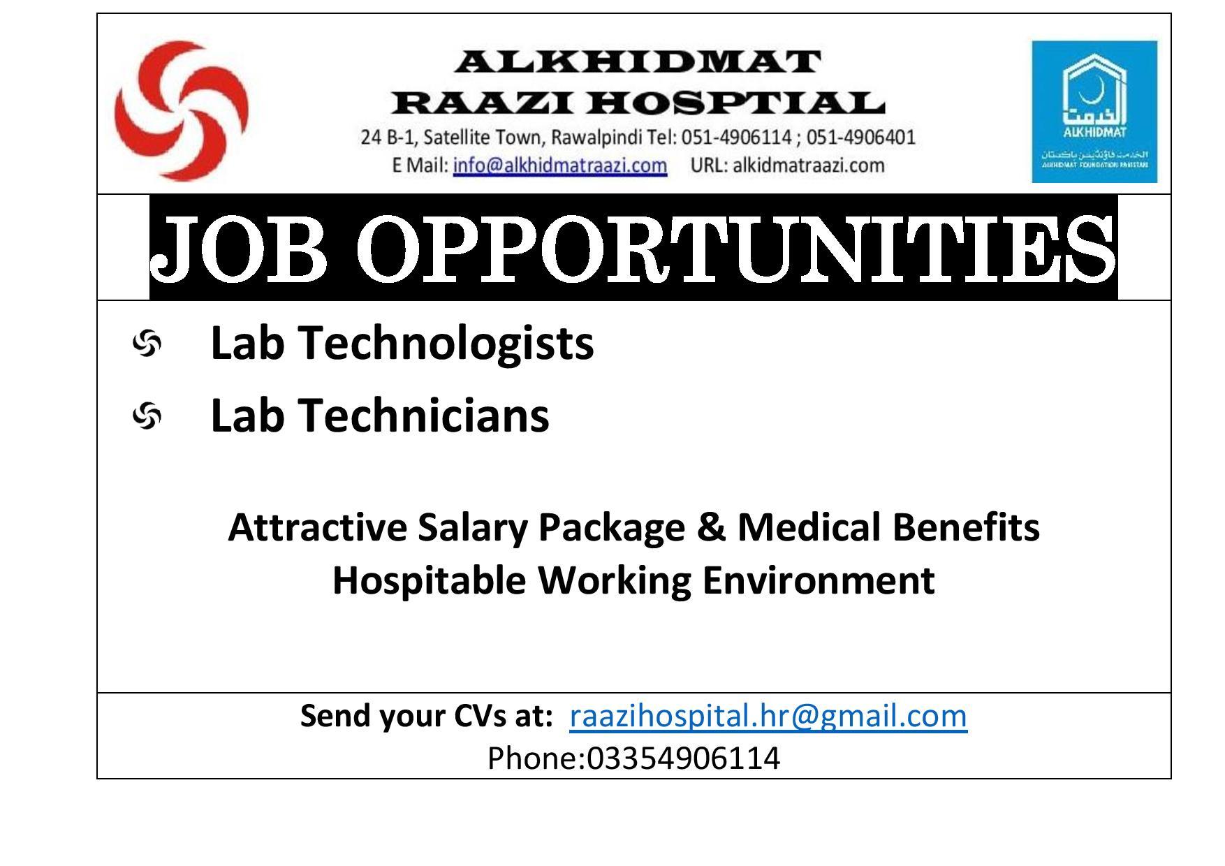Job Oppurtunities, Lab Jobs, Jobs in Al-Khidmat Raazi